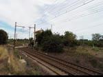 Frankreich, Languedoc-Roussillon, Hérault, Villeneuve-lès-Maguelone, auf der Strecke Montpellier-Sète. Die zwei MAK G1206 der RegioRail Languedoc-Roussillon ziehen zwei Güterwagen von Montpellier in Richtung Sète. Die erste L ...