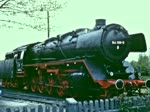 Besucher des Eisenbahnmuseums Bochum-Dahlhausen reisen 1976 stilvoll mit einem von der Dampflokomotive 44 508 geführten Sonderzug an. (Überarbeitete Fassung. Die bisherige Version wurde 1270 mal abgerufen.