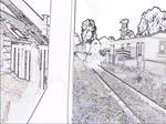 Bearbeitung mit Kantenfilter, lässt das Video wie eine Zeichnung aussehen: Abfahrt eines Dampfzugs mit Lok #5541 aus Lydney Town, 11.9.2016
