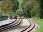 Dampflok #2 der Brecon Mountain Railway bei der Einfahrt in den Bahnhof Pontsticill, Wales, 15.9.2016  Die Lok wurde im Juli 1930 von den Baldwin Locomotive Works in Philadelphia als Nr. 61269 gebaut.